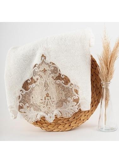 Nazik Home Carina Dantelli Banyo Yüz Havlusu (50 x 90 cm) Krem